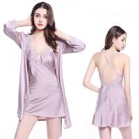睡衣女夏季性感吊带裙两件套 女士短袖冰丝丝绸睡袍蕾丝套装睡裙 【带罩杯】