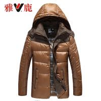 雅鹿羽绒服时尚男士短款 可脱卸帽冬装立领修身冬季外套YO39230