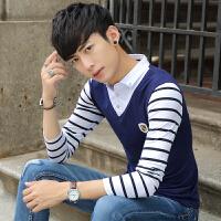 男士长袖T恤衬衫领春季潮流男装薄款体恤衫青年韩版假两件套衣服