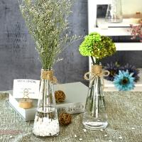 美式玻璃花瓶 田园锥形花瓶卧室书桌摆件雨点花瓶小清新花艺瓶