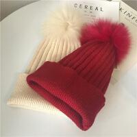 帽子大毛球毛线帽女冬季韩版兔毛针织帽套头帽