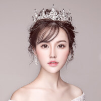 2018新款红色新娘头饰皇冠耳环结婚婚纱公主王冠发饰韩式