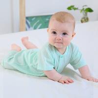 龙之涵婴儿连体衣新生儿春夏爬服宝宝纯棉短袖哈衣0-1-24个月薄款和尚服