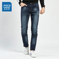 真维斯男装 冬装新款 时尚雨纹牛仔长裤
