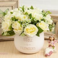 仿真玫瑰花束 卧室办公桌装饰摆件假花绢花插花盆栽