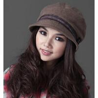 秋天韩版小花朵冬天冬帽女韩版新款新女小檐帽子保暖加厚