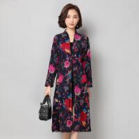 盘扣风衣女秋装新款民族风女装棉麻印花中长款长袖中国风外套