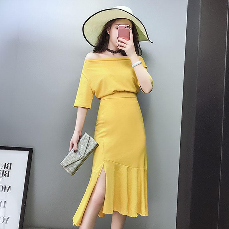 优雅气质套装潮 夏季新品糖果色斜肩短袖T恤高腰包臀鱼尾裙半身裙 发货周期:一般在付款后2-90天左右发货,具体发货时间请以与客服协商的时间为准