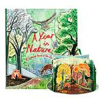 英文原版绘本 A Year in Nature 大自然四季 360度旋转木马立体书 儿童STEAM科普书