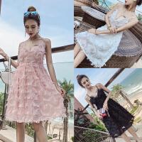 2018夏季新款韩版时尚气质名媛性感V领女神款沙滩流苏吊带连衣裙