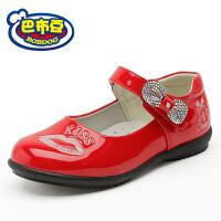 巴布豆女童皮鞋 春秋新款可爱女童鞋黑色学生皮鞋