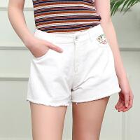 夏装新品绣花牛仔短裤毛边微喇裤纯棉热裤女D728784N60
