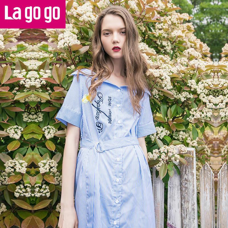 【商场同款】Lagogo/拉谷谷2017年夏季新款条纹衬衫短袖连衣裙女一字肩高腰显瘦GALL325F24