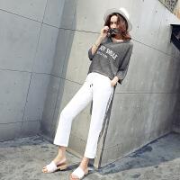 套装女夏季新款韩版学生时尚运动休闲宽松短袖T恤九分裤两件套潮 图色