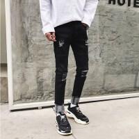 新品男士修身小脚牛仔裤个性破洞韩版青年休闲黑色裤子春秋款显瘦