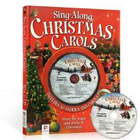 英文原版绘本 Sing along Christmas Carols 附CD 4个绘本故事+26首经典圣诞颂歌合集 节