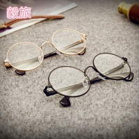 快手红人二公子同款潮流眼镜框男女士复古圆形金丝镜装饰平光眼镜J