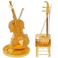 3D立体拼图模型乐器小提琴钢琴架子鼓拼装玩具