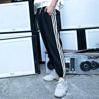 运动休闲裤女韩版直筒百搭宽松侧条纹显瘦嘻哈束脚卫裤子春潮