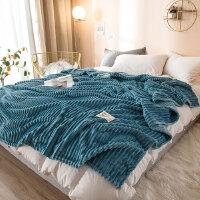 鸿秀(Hongxiu)加厚纯色压条魔法绒午睡法兰绒休闲毯HX036