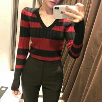 显瘦撞色圆领针织衫2018春冬季新款打底毛衣女士套头长袖上衣韩版 均码