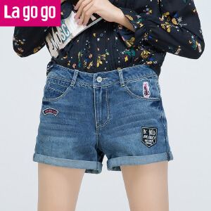 Lagogo拉谷谷2017年夏季新款刺绣百搭贴片卷边纽扣牛仔短裤女