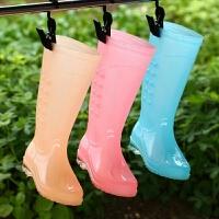 成人雨鞋女透明糖果时尚防水胶鞋女雨靴高筒防滑防水时尚雨鞋雨靴