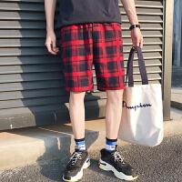 夏季裤子休闲短裤男士五分裤夏天宽松休格子裤韩版潮流男裤沙滩裤