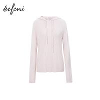 伊芙丽羊绒衫女2019新款春装针织衫打底衫连帽很仙的毛衣洋气