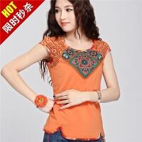 夏装新款中国风上衣 阿卡绣花民族风女装短袖t恤女大码修身打底衫