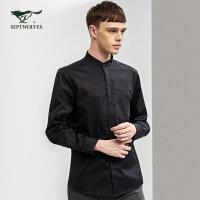 七匹狼长袖衬衫 17秋季新款 百搭时尚潮流立领纯色纯棉长袖衬衣