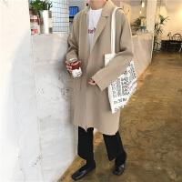 毛呢外套女韩版简约翻领复合面料毛呢中长款风衣春季新款呢子大衣