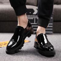 米乐猴 潮牌男鞋布洛克雕花皮鞋男士厚底增高松糕底男休闲鞋亮面漆皮皮鞋