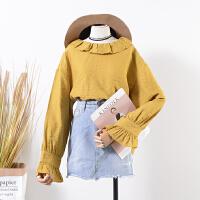 29 春季新款韩版纯色圆领女式时尚套头长袖衬衫