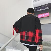 新款男士韩版宽松长袖夹克外套男装秋冬个性假两件格子大码