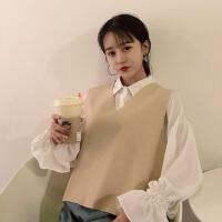 针织马甲两件套潮女白色雪纺衬衫+时髦V领毛衣背心马夹软妹子套装