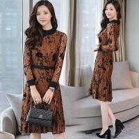 2018新款长袖高腰圆领蕾丝中长款时尚花色高腰收腰显瘦连衣裙冬季