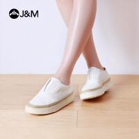 jm快乐玛丽春季平底休闲套脚乐福鞋增高厚底舒适渔夫鞋女鞋83009W