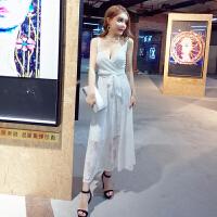 欧美风2018韩版名媛气质约会夏季新款性感蕾丝吊带连衣裙长裙
