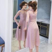 秋季2018新款韩版时尚女装修身显瘦长袖针织蕾丝连衣裙中长款