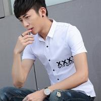 衬衫男夏季短袖潮流韩版青少年修身款休闲个性百搭学生薄衬衣