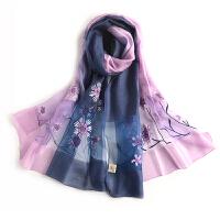 百搭民族风雏菊玫瑰花渐变色真丝羊毛刺绣丝巾围巾披肩两用沙滩巾