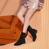 骆驼女鞋2019新款冬靴女加绒中跟靴子女时尚英伦粗跟女靴中筒靴子