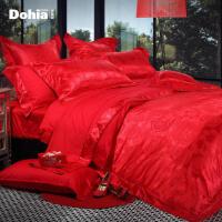 多喜爱家纺提花婚庆床品六件套大红时尚床上用品恋爱通告