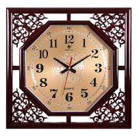 挂钟客厅大方形复古创意中式家庭电子石英钟表日历时钟挂表 18英寸(直径45.5厘米)