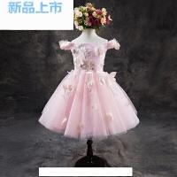 花童礼服女童模特走秀舞台演出服儿童公主裙粉色一字肩蓬蓬纱短款