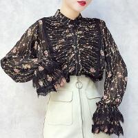 早春装2018新款女性感透视百褶皱花色喇叭长袖单排扣雪纺衬衫上衣 均码