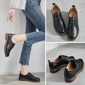 ZHR2018春季新款英伦风小皮鞋粗跟复古单鞋女平底休闲鞋真皮女鞋E128