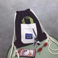 束口袋抽绳双肩包男女小学生书包轻便运动简易背包布袋补习补课包 暴力熊 高35宽31厘米