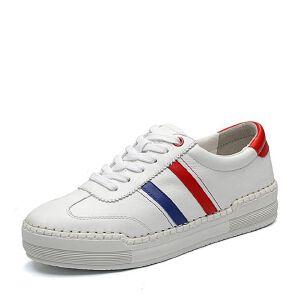 BASTO/百思图2018春季专柜同款白色软面牛皮系带条纹女休闲鞋YLC02AM8